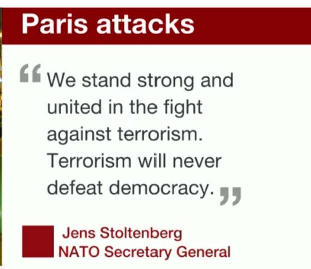 """We stand strong ...."" #paristerrorattack"