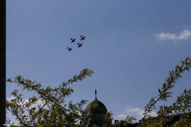 Flyguppvisning idag över Budapest